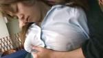 オッパイ揉まれて母乳が染みてくる様子が興奮モノの巨乳レズプレイ