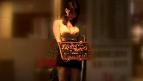 客引き中のもんの凄い身体したガールズバー店員をナンパしてホテルでIカップロケット爆乳を揉みまくる64分!