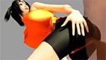 シャツとスパッツがフィットした超乳&巨尻がエロいスポーツ女子の尻コキ