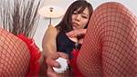 真っ赤な網タイツがセクシーな爆乳&巨尻ギャルのバイブオナニー