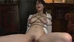 チ○ポを繋がった部分を大股開きで見せられながら犯される緊縛巨乳美女