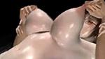 乳首を摘まれ爆乳を引っ張られながら3Pファックされる眼鏡美女