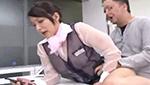 スケスケ制服でオッパイ見えちゃってる巨乳店員がファックされながらスマホ説明w